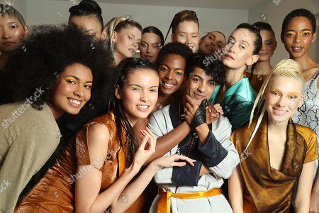 Antonio Ortega and Models backstage