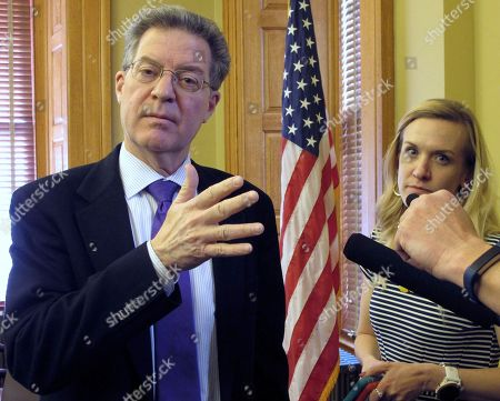 Kansas Gov. Sam Brownback talks to reporters, at the Statehouse in Topeka, Kan. The conservative Republican governor had a contentious tenure before President Trump nominated him as U.S. ambassador-at-large for international religious freedom