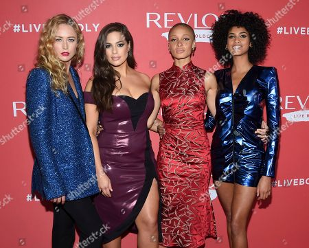 "Raquel Zimmermann, Ashley Graham, Adwoa Aboah, Imaan Hammam. Models Raquel Zimmermann, left, Ashley Graham, Adwoa Aboah and Imaan Hammam attend Revlon's ""Live Boldly"" campaign launch event at Skylight Modern, in New York"