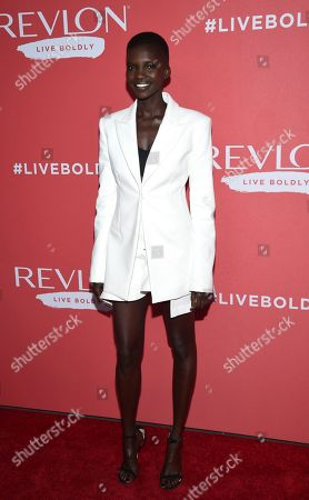 """Model Achok Majak attends Revlon's """"Live Boldly"""" campaign launch event at Skylight Modern, in New York"""