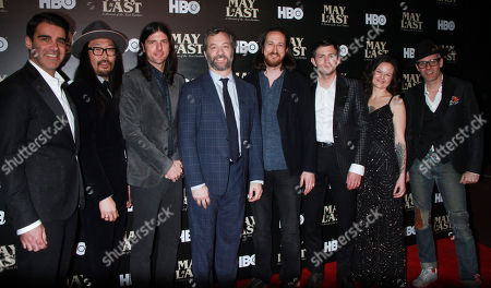 Stock Image of Bob Crawford, Joe Kwon, Seth Avett, Judd Apatow, Michael Bonfiglio, Scott Avett and Tania Elizabeth