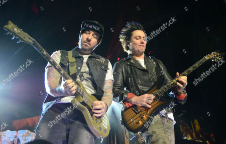 Lead guitarist Synyster Gates and guitarist Zacky Vengeance of the band Avenged Sevenfold perform at the Resch Center in Green Bay, Wisconsin
