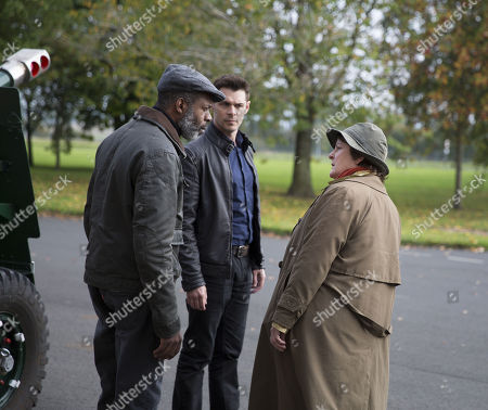 Brenda Blethyn as DCI Vera Stanhope, Wil Johnson as Gary Whenchurch and Kenny Doughty as DS Aiden Healy.