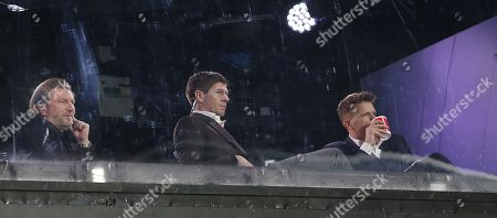 \steven gerrard and robbie savage watch the match with presenter jake humphries