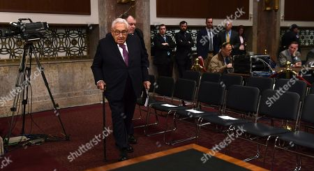Former Secretary of State Henry Kissinger arrives to testify before the Senate Armed Services Committee hearing on Capitol Hill in Washington, on global challenges and U.S. national security strategy. Kissinger testified at the hearing along with former Secretary of State George Shultz and former Deputy Secretary of State Richard Armitage