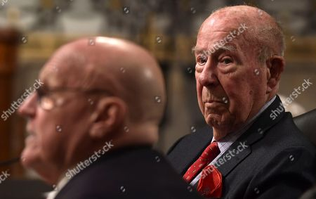 George Shultz, Richard Armitage. Former Secretary of State George Shultz, right, listens as former Deputy Secretary of State Richard Armitage, left, speaks during the Senate Armed Services Committee hearing on Capitol Hill in Washington, on global challenges and U.S. national security strategy. Shultz and Armitage testified at the hearing along with former Secretary of State Henry Kissinger