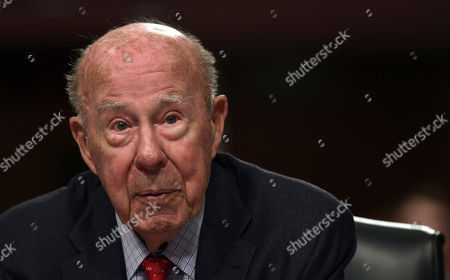 Former Secretary of State George Shultz listens during the Senate Armed Services Committee hearing on Capitol Hill in Washington, on global challenges and U.S. national security strategy. Shultz testified at the hearing along with former Secretary of State Henry Kissinger and former Deputy Secretary of State Richard Armitage