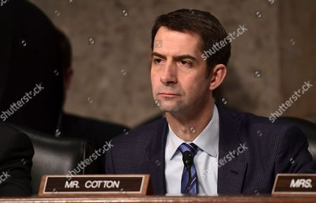 Sen. Tom Cotton, R-Ark., listens during a Senate Armed Services Committee hearing on Capitol Hill in Washington, on global challenges and U.S. national security strategy. The witnesses were former Secretary of State Henry Kissinger, former Secretary of State George Shultz and former Deputy Secretary of State Richard Armitage