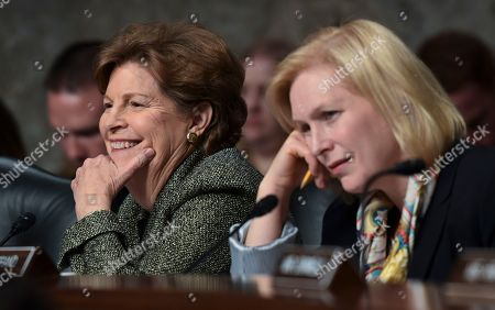 Stock Picture of Jeanne Shaheen, Kirsten Gillibrand. Sen. Jeanne Shaheen, D-N.H., left, and Sen. Kirsten Gillibrand, D-N.Y., right, listens to testimony during the Senate Armed Services Committee hearing on Capitol Hill in Washington, on global challenges and U.S. national security strategy. The witnesses were former Secretary of State Henry Kissinger, former Secretary of State George Shultz and former Deputy Secretary of State Richard Armitage