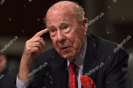 Former Secretary of State George Shultz speaks during the Senate Armed Services Committee hearing on Capitol Hill in Washington, on global challenges and U.S. national security strategy. Shultz testified at the hearing along with former Secretary of State Henry Kissinger and former Deputy Secretary of State Richard Armitage