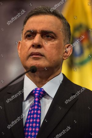 Venezuelan Attorney General Tarek Saab delivers a press conference in Caracas, Venezuela, 25 January 2018. Saab announced that an arrest order on former Oil Minister and former Chief of PDVSA Rafael Ramires will be issued soon for money laundering and other crimes.