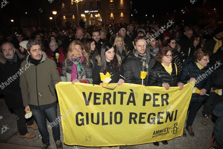 Italian television host and filmdirector, Pierfrancesco Diliberto (L), nicknamed Pif, attends a march and torchlight procession in memory of the Italian researcher Giulio Regeni, who was abducted, tortured and murdered in Cairo (Egypt), in Fumicello, Italy, 25 January 2018. Italian Giulio Regeni died in 2016.