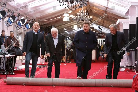 Jack Sussman, Ken Ehrlich, James Corden, Neil Portnow. Jack Sussman, Ken Ehrlich, James Corden, and Neil Portnow participate in the 60th annual Grammy Awards red carpet roll out at Madison Square Garden, in New York