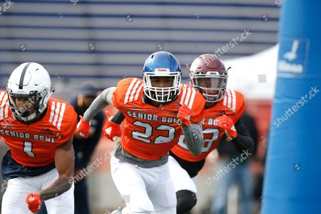 Michael Joseph, Christian Campbell. North squad Christian Campbell of Penn State, left, and cornerback Michael Joseph of Dubuque, center, in action during the North teams practice for Saturday's Senior Bowl college football game in Mobile, Ala