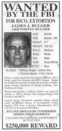 "Whitey Bulger. Released by the Federal Bureau of Investigation shows a ""Wanted"" advertisement placed in a magazine as the FBI was seeking information on New England organized crime leader James J. ""Whitey"" Bulger. Bulger was captured in 2011 and convicted of numerous crimes in 2013 after 16 years on the run. People are peddling all types of Bulger memorabilia as the ""Black Mass,"" a movie about the notorious gangster, hits theaters in September 2015. Some of Bulger's victims are not amused"