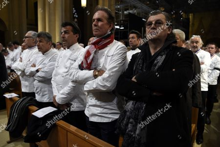 "(L-R) French chef Alain Ducasse, Regis Marcon and Yannick Alleno, US chef Thomas Keller and French chef Marc Veyrat attend the funeral ceremony for French Paul Bocuse at the Saint-Jean Cathedral in Lyon, France, 26 January 2018. More than 1,500 chefs from around the world along with thousands of fans of French cuisine are expected in Lyon to honor their ""pope"" Paul Bocuse, who died on 20 January 20 aged 91."