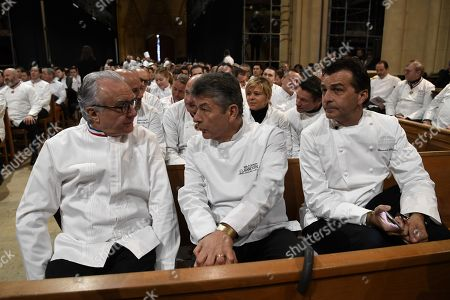 """(L-R) French chefs Alain Ducasse, Regis Marcon and French chef Yannick Alleno attend the funeral ceremony for French chef Paul Bocuse at the Saint Jean Cathedral in Lyon, France, 26 January 2018. More than 1,500 chefs from around the world along with thousands of fans of French cuisine are expected in Lyon to honor their """"pope"""" Paul Bocuse, who died on 20 January 20 aged 91."""