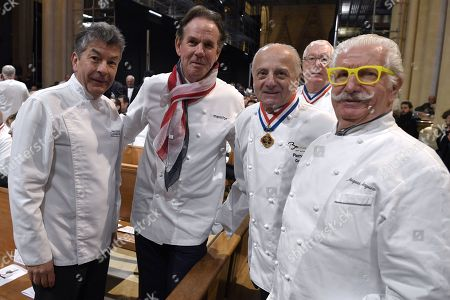 "(L-R) French chef Regis Marcon, US chef Thomas Keller and French chefs Pierre Orsi and Jacques Marguin attend the funeral ceremony for French Paul Bocuse at the Saint-Jean Cathedral in Lyon, France, 26 January 2018. More than 1,500 chefs from around the world along with thousands of fans of French cuisine are expected in Lyon to honor their ""pope"" Paul Bocuse, who died on 20 January 20 aged 91."