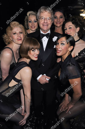 Jerry Springer with the cast Michelle Antrobus, Vivien Carter, Lucy Anderson, Lisa Norman, Chantelle Carey and Lucy Banfield
