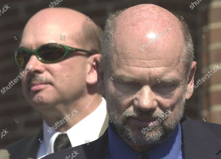 Stock Image of Bob Meyers, Larry Meyers. Larry Meyers, right, and his brother, Bob Meyers, left, talk to the press after touring the Virginia Beach courthouse in Virginia Beach, Va., . The men are brothers of Dean H. Meyers who was slain in October of 2002. Sniper suspect John Allen Muhammad is on trial for Meyers slaying