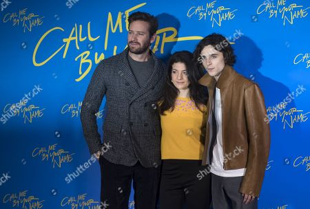Esther Garrel, Armie Hammer and Timothee Chalamet