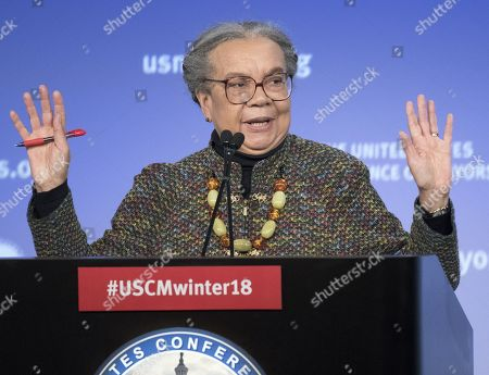 Stock Image of Marian Wright Edelman of the Children's Defense Fund makes remarks at a plenary session of the United States Conference of Mayors in Washington, DC.
