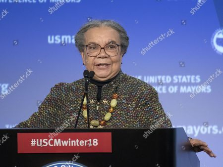 Marian Wright Edelman of the Children's Defense Fund makes remarks at a plenary session of the United States Conference of Mayors in Washington, DC.