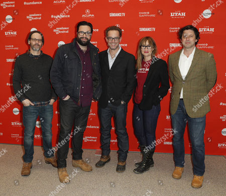 (L-R) Co-Writer Marc Basch, director/screenwriter Brett Haley, producer Sam Bisbee, producer Theodora Dunlap, and producer Houston King arrive for the premiere of the film 'Hearts Beat Loud' at the 2018 Sundance Film Festival in Park City, Utah, USA, 26 January 2018. The festival runs from 18 to 28 January.