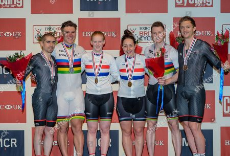 Podium for the Mixed Paracycling BVI Time Trial Gold-Sophie Thornhill & Helen Scott Silver-Neil Fachie & Matt Rotherham Bronze-James Ball & Peter Mitchell at the HSBC UK National Track Championships