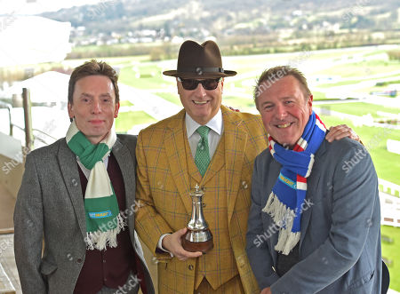 (C) Rich Ricci, Chairman of BetBright, with (L) Ken Doherty, Irish snooker player, and (R) Phil Tufnell, former England cricketer, who have been appointed captains of Ireland and Great Britain ahead of the 2018 BetBright Cup, contested at The Cheltenham Festival.