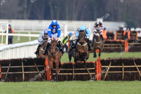 Maria's Benefitthe ridden by Ciaran Gethings and trained by  Stuart Edmunds jumps clear to win the 14:40 Olbg.Com Yorkshire Rose Mares' Hurdle ;Sky Bet Chase at Doncaster Racecourse