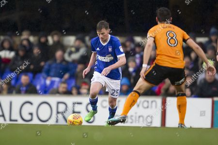 Stephen Gleeson of Ipswich Town runs at the visitors defence as Ruben Neves of Wolverhampton Wanderers closes down the space during Ipswich Town vs Wolverhampton Wanderers, Sky Bet EFL Championship Football at Portman Road on 27th January 2018