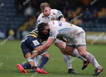 Marcus Street of Exeter Chiefs and Moray Low of Exeter Chiefs block David Denton of Worcester Warriors during the Anglo-Welsh Cup match between Worcester Warriors and Exeter Chiefs at Sixways Stadium on January 27th 2017 in Worcester, England (
