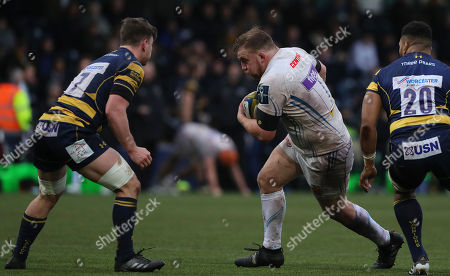 Moray Low of Exeter Chiefs on the break during the Anglo-Welsh Cup match between Worcester Warriors and Exeter Chiefs at Sixways Stadium on January 27th 2017 in Worcester, England (
