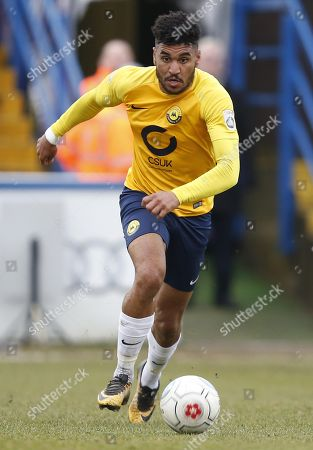 Torquay United player Jamie Reid attacking during the Vanarama National League Match between Macclesfield Town and Torquay United at Moss Rose, Macclesfield on January 27.