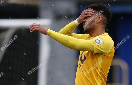 Torquay United player Jamie Reid reacts after going close during the Vanarama National League Match between Macclesfield Town and Torquay United at Moss Rose, Macclesfield on January 27.
