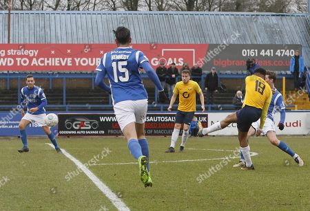 Torquay United player Jamie Reid shoots during the first half during the Vanarama National League Match between Macclesfield Town and Torquay United at Moss Rose, Macclesfield on January 27.