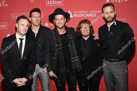 Eddie Fisher, Zach Filkins, Ryan Tedder, Drew Brown, Brent Kutzle. Eddie Fisher, from left, Zach Filkins, Ryan Tedder, Drew Brown and Brent Kutzle of OneRepublic arrives at the 2018 MusiCares Person of the Year tribute honoring Fleetwood Mac at the Radio City Music Hall on in New York