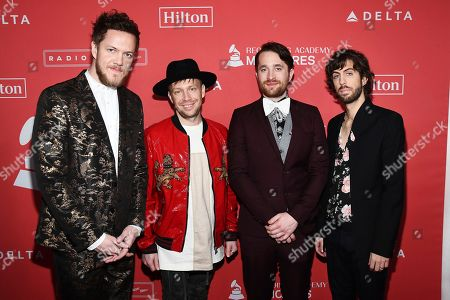 Stock Photo of Dan Reynolds, Ben McKee, Daniel Platzman, Daniel Wayne Sermon. Dan Reynolds, from left, Ben McKee, Daniel Platzman and Daniel Wayne Sermon of Imagine Dragons arrives at the 2018 MusiCares Person of the Year tribute honoring Fleetwood Mac at the Radio City Music Hall on in New York