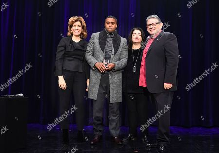 Julie Menin, Nas, Michele Anthony, Sir Lucian Grainge. From left, Julie Menin, Nas, Michele Anthony, EVP UMG and Sir Lucian Grainge, Chairman and CEO UMG attends Sir Lucian Grainge's 2018 Artist Showcase presented by American Airlines and Citi on in New York
