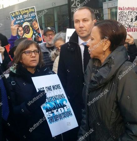 Nydia Velazquez, Amy Gottlieb. U.S. Rep. Nydia Velazquez addresses Amy Gottlieb, left, the wife of detained immigrant rights activist Ravi Ragbir during a demonstration in front of the Manhattan office building that houses Immigration and Customs Enforcement, in New York. Velazquez has invited Gottlieb to President Donald Trump's State of the Union address on Tuesday, Jan. 30