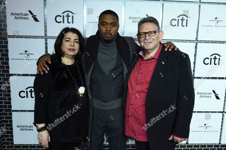 Michele Anthony, Nas, Sir Lucian Grainge. Michele Anthony, Nas and Sir Lucian Grainge attend Sir Lucian Grainge's 2018 Artist Showcase presented by American Airlines and Citi on in New York