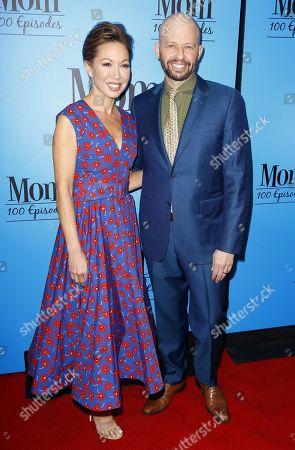 "Jon Cryer, Lisa Joyner. Jon Cryer, right, and Lisa Joyner arrive at the ""Mom"" 100th Episode Celebration, in Los Angeles"