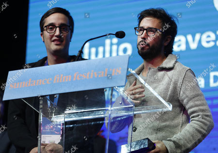 Director Sebastian Hofmann (R) and screenwriter Julio Chavezmontes (L), accept the World Cinema Award: Special Jury Award for Screenwriting: for the movie 'Time Share' during the 2018 Sundance Film Festival Awards Night in Park City, Utah, USA, 27 January 2018. The festival runs from 18 to 28 January.