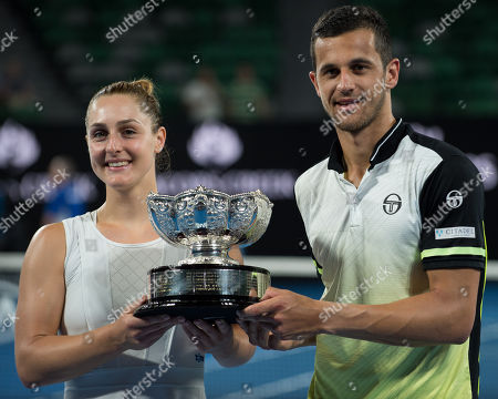 Mixed Doubles winners Gabriela Dabrowski (CAN) and Mate Pavic (CRO) presented with the trophy.  Dabrowski and Pavic beat Timea Babos (HUN) and Rohan Bopanna (IND) 6-2, 4-6, 9-11.  Australian Open Tennis Championships, Melbourne Park, Melbourne, Australia.28th January 2018.