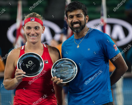 Mixed Doubles runners up Timea Babos (HUN), Rohan Bopanna (IND).  The match was won by Gabriela Dabrowski (CAN) and Mate Pavic (CRO) 6-2, 4-6, 9-11. Australian Open Tennis Championships, Melbourne Park, Melbourne, Australia.28th January 2018.