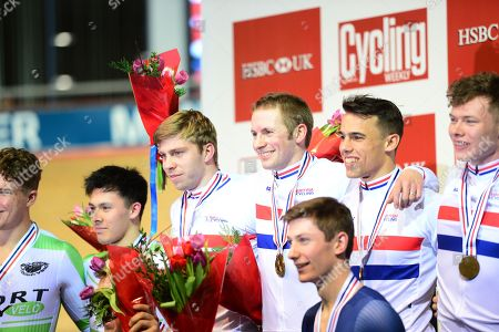 Podium Mens Team Sprint winner Jason Kenny and team mates Ryan Owens Jack Carlin and Philip Hindes