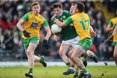 Kerry vs Donegal. Kerry's Paul Murphy under pressure from Ciaran Thompson, Hugh McFadden and Paul Brennan of Donegal