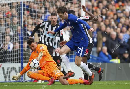 Andreas Christensen of Chelseahas his shot blocked by Rob Elliot of Newcastle United, Emirates FA Cup Fourth Round, Chelsea v Newcastle United, Stamford Bridge, London, United Kingdom, 28th January 2018