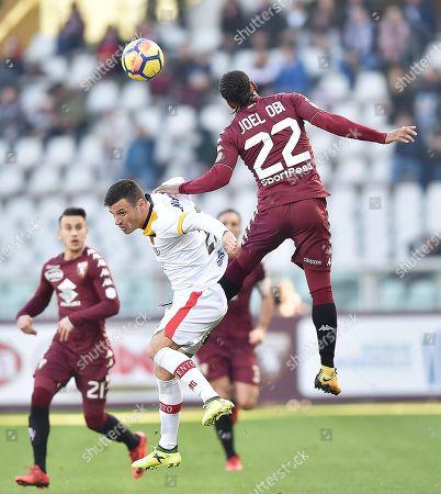 Torino's Joel Obi (R) and  Benevento's Ledian Memushaj (C) in action during the Italian Serie A soccer match between Torino FC and Benevento at Olimpico Stadium in Turin, Italy, 28 January.